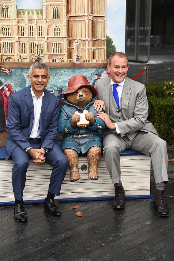 "Mayor Sadiq Khan and Hugh Bonneville<br /> at the ""Paddington's Pop-Up London"" launch, London<br /> <br /> <br /> ©Ash Knotek  D3339  19/10/2017"