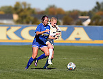 BROOKINGS, SD - OCTOBER 9:  McKenzie Wolf #16 from South Dakota State University battles for the ball with Sierra Beall #32 from Oral Roberts during their game Sunday afternoon at Fischback Park in Brookings. (Photo by Dave Eggen/Inertia)