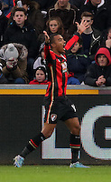 Junior Stanislas of Bournemouth protests to the linesman for disallowing his goal during the Barclays Premier League match between Swansea City and Bournemouth at the Liberty Stadium, Swansea on November 21 2015