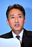 """May 1, 2011, Tokyo, Japan - Kazuo Hirai, Sony Entertainment President, explains a breach of security during a news conference at its headquarter in Tokyo on Sunday, May 1, 2011. Hirai, along with two other executives, apologized for the breach in the company PlayStation Network that caused the loss of personal data of some 77 million accounts on the online service. Sony has said it has contacted U.S. Federal Bureau of Investigation to look into what the company called """"a criminal cyber attack"""" on Sony's data center in San Diego, California. (Photo by Natsuki Sakai/AFLO) [3615] -mis-."""
