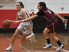 Lauren Krystall #23 of Plainedge, left, gets pressured by Sophia Costantino #11 of Glen Cove during a Nassau AA-3 girls basketball game against Glen Cove at Plainedge High School on Thursday, Dec. 20, 2018.