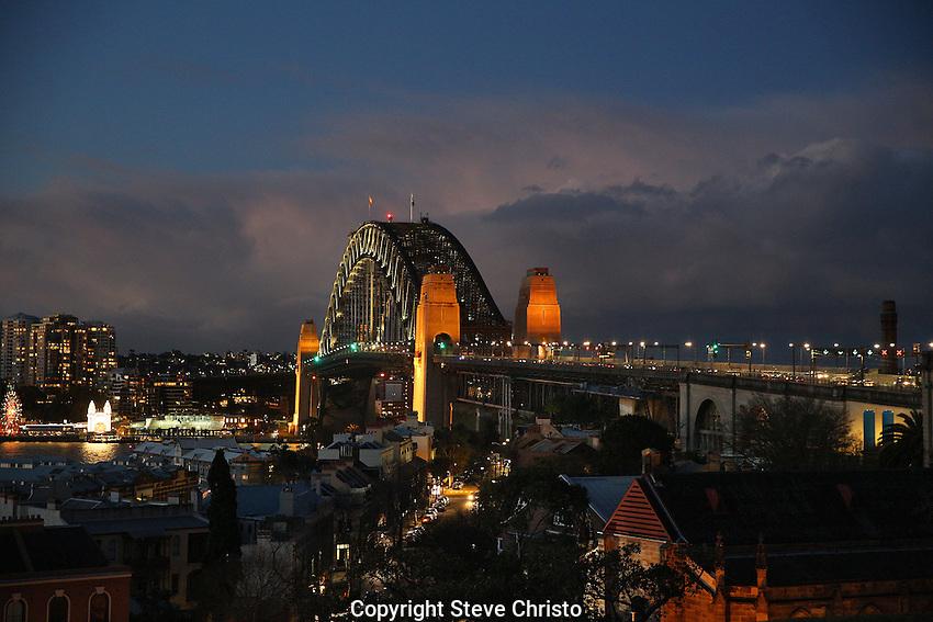 The Sydney Harbour Bridge from Observatory Hill. Sydney, Australia. Thursday 13th July 2014. (Photo: Steve Christo)