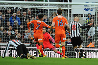 Jonjo Shelvey of Newcastle United scores Newcastle United's third goal during Newcastle United vs Luton Town, Emirates FA Cup Football at St. James' Park on 6th January 2018