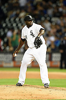 Chicago White Sox pitcher Maikel Cleto (39) delivers a warmup pitch during a game against the Toronto Blue Jays on August 15, 2014 at U.S. Cellular Field in Chicago, Illinois.  Chicago defeated Toronto 11-5.  (Mike Janes/Four Seam Images)
