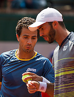 France, Paris, 31.05.2014. Tennis, French Open, Roland Garros, Jean-Julien Rojer (NED) with his doubles partner Horia Tecau (ROU)<br /> Photo:Tennisimages/Henk Koster
