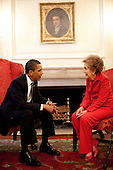 Washington, DC - June 2, 2009 -- United States President Barack Obama meets with former First Lady Nancy Reagan prior to a bill signing ceremony in the White House for the Ronald Reagan Centennial Commission Act, June 2, 2009..Mandatory Credit: Pete Souza - White House via CNP
