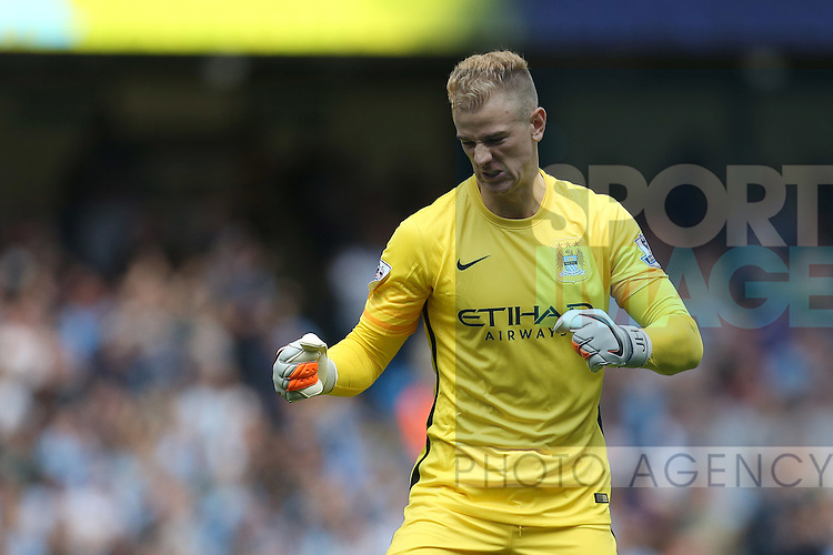 Joe Hart of Manchester City celebrates his sides second goal - Manchester City vs Watford - Barclay's Premier League - Etihad Stadium - Manchester - 29/08/2015 Pic Philip Oldham/SportImage