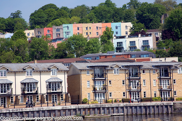 Colourful houses on hillside Clifton, Hotwells, from Floating Harbour, Bristol