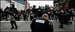 Sept. 24,  - Pittsburgh, Pennsylvania, USA - .Riot police gear up to move a group of protesters and self-proclamed anarchist near downtown Pittsburgh, PA Thursday near the site of the G-20 Summit. Brian Blanco/ZUMA Press