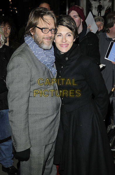 "guest & Tamsin Greig.The ""Macbeth"" press night performance, Trafalgar Studios, Whitehall, London, England..February 22nd, 2013.half length grey gray suit jacket blue scarf glasses beard facial hair black.CAP/CAN.©Can Nguyen/Capital Pictures."