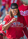 11 March 2016: Philadelphia Phillies infielder Emmanuel Burriss hydrates in the dugout during a Spring Training pre-season game against the Atlanta Braves at Champion Stadium in the ESPN Wide World of Sports Complex in Kissimmee, Florida. The Phillies defeated the Braves 9-2 in Grapefruit League play. Mandatory Credit: Ed Wolfstein Photo *** RAW (NEF) Image File Available ***