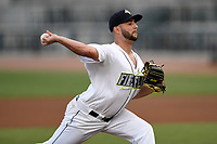 Starting pitcher Zac Grotz (15) of the Columbia Fireflies delivers a pitch during a game against the Charleston RiverDogs on Wednesday, August 29, 2018, at Spirit Communications Park in Columbia, South Carolina. Charleston won, 6-1. (Tom Priddy/Four Seam Images)