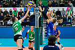02.12.2018, Halle Berg Fidel, Muenster<br />Volleyball, Bundesliga Frauen, Normalrunde, USC MŸnster / Muenster vs. Allianz MTV Stuttgart<br /><br />Angriff Juliane Langgemach (#9 Muenster) - Block / Doppelblock Jana Franziska Poll (#9 Stuttgart), Paige Tapp (#17 Stuttgart)<br /><br />  Foto &copy; nordphoto / Kurth