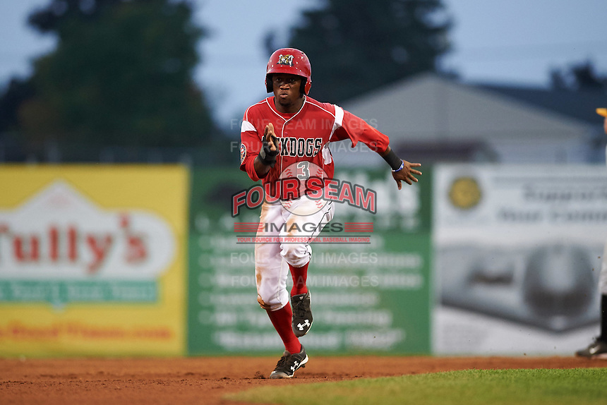 Batavia Muckdogs shortstop Anfernee Seymour (3) running the bases during a game against the West Virginia Black Bears on August 31, 2015 at Dwyer Stadium in Batavia, New York.  Batavia defeated West Virginia 5-4.  (Mike Janes/Four Seam Images)