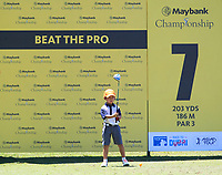 """This little guy tee'd off right after the Pro's in a """"Beat The Pro"""" contest on the 7th during Round 3 of the Maybank Championship at the Saujana Golf and Country Club in Kuala Lumpur on Saturday 3rd February 2018.<br /> Picture:  Thos Caffrey / www.golffile.ie<br /> <br /> All photo usage must carry mandatory copyright credit (© Golffile 