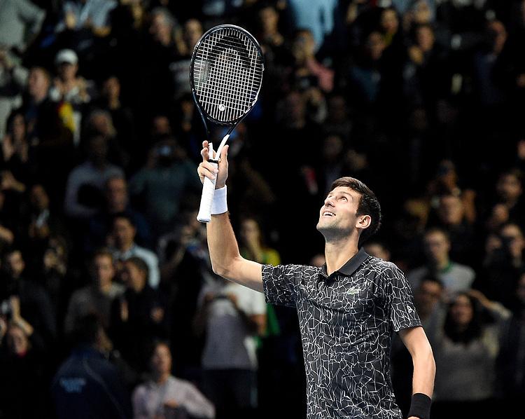 Novak Djokovic celebrate winning against John Isner <br /> <br /> Photographer Hannah Fountain/CameraSport<br /> <br /> International Tennis - Nitto ATP World Tour Finals Day 2 - O2 Arena - London - Monday 12th November 2018<br /> <br /> World Copyright © 2018 CameraSport. All rights reserved. 43 Linden Ave. Countesthorpe. Leicester. England. LE8 5PG - Tel: +44 (0) 116 277 4147 - admin@camerasport.com - www.camerasport.com