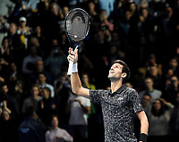 Novak Djokovic celebrate winning against John Isner <br /> <br /> Photographer Hannah Fountain/CameraSport<br /> <br /> International Tennis - Nitto ATP World Tour Finals Day 2 - O2 Arena - London - Monday 12th November 2018<br /> <br /> World Copyright © 2018 CameraSport. All rights reserved. 43 Linden Ave. Countesthorpe. Leicester. England. LE8 5PG - Tel: +44 (0) 116 277 4147 - admin@camerasport.com - www.camerasport.com
