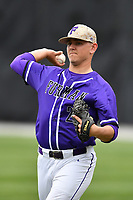 Starting pitcher Will Gaddis (24) of the Furman Paladins warms up before a game against the Wofford Terriers on Friday, March 24, 2017, at Russell C. King Field in Spartanburg, South Carolina. Wofford won, 9-8. (Tom Priddy/Four Seam Images)