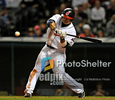 12 September 2008: Cleveland Indians' outfielder Shin-Soo Choo in action against the Kansas City Royals at Progressive Field in Cleveland, Ohio. The Indians defeated the Royals 12-5 in the first game of their 4-game series...Mandatory Photo Credit: Ed Wolfstein Photo