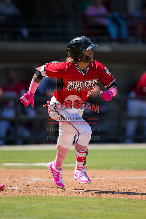 Isan Diaz (6) of the Carolina Mudcats hustles down the first base line against the Winston-Salem Dash at Five County Stadium on May 14, 2017 in Zebulon, North Carolina.  The Mudcats walked-off the Dash 11-10.  (Brian Westerholt/Four Seam Images)