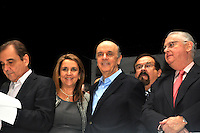 SAO PAULO, SP, 17 DE MAIO 2012 - DEMOCRATAS ANUNCIA APOIO AO CANDIDATURA DE JOSE SERRA -  O candidato a prefeitura de Sao Paulo, Jose Serra (D) e o presidente da Assembleia Legislativa de Sao Paulo Barroz Munhoz, durante evento em que o Democratas anuncia apoio a candidatura de Jose Serra no Clube Homs na regiao da Avenida Paulista, nesta quinta-feira, 17. (FOTO: THAIS RIBEIRO / BRAZIL PHOTO PRESS).