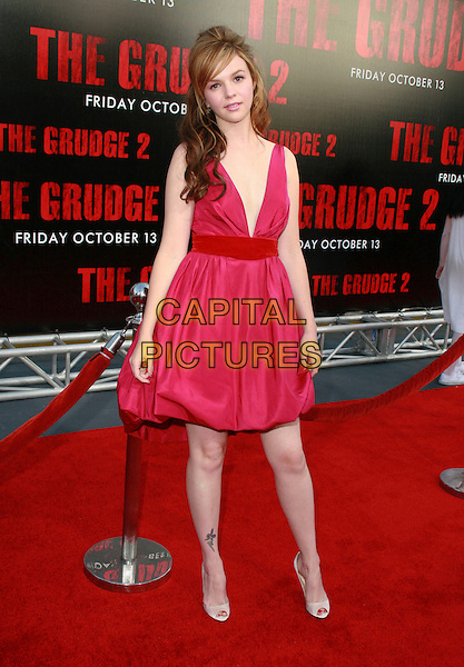 "AMBER TAMBLYN.""The Grudge 2"" Los Angeles Premiere held at Knotts Scary Farm, Buena Park, California, USA..Ref: ADM/CH.October 8th, 2006.full length pink dress.www.capitalpictures.com.sales@capitalpictures.com.©Charles Harris/AdMedia/Capital Pictures."