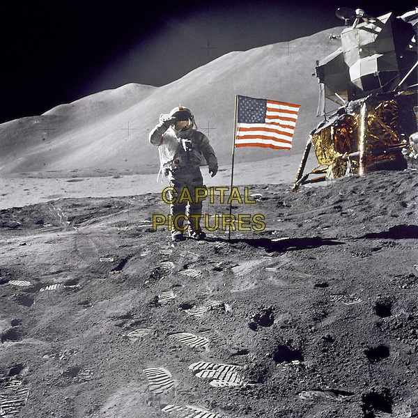 Buzz Aldrin salutes by US flag.space universe galaxy gv general view spaceship rocket full length astronaut spacesuit hand arm.*Editorial Use Only*.CAP/NASA/PLF.Supplied by PLF/NASA/Capital Pictures