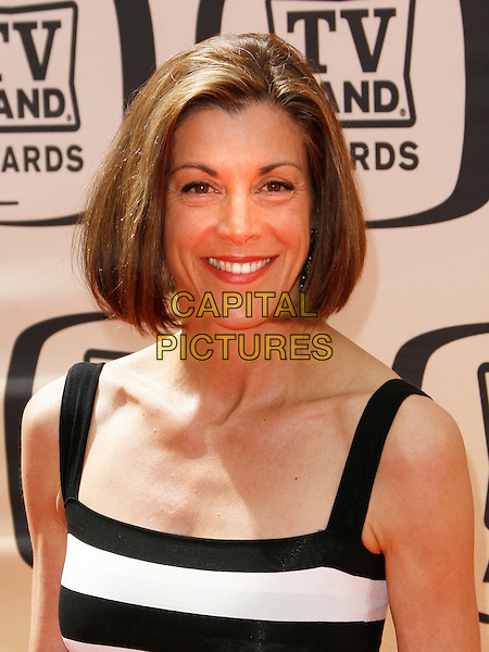 WENDIE MALICK.The 8th Annual TV Land Awards held at  Sony Studios in Culver City, California, Culver City, USA..April 17, 2010   .headshot portrait striped stripes sleeveless black white wendy.CAP/ROT/BAR.©Barraza/Lee Roth/Capital Pictures