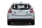 Straight rear view of a 2014 Ford FOCUS 5P 107kW Electric 142 ch 5 Door Hatchback 2WD Rear View  stock images
