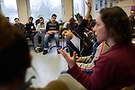 13.1.2017, BERLIN. Nirit and Esther visit a Walter-Gropius-School in Berlin Neuk&ouml;lln for the project &quot;Rent A Jew&quot; by Janusz Korczak academy.<br /> <br /> Further info: <br /> Germany is a country of about 81 million people - only about 200,000 of which are Jewish. As a consequence, most Germans have never met a Jewish person, despite the omnipresence of the Holocaust in German public life and in school books. A lot of Jewish people, on the other hand, want to be more than just the regular stereotypes, reduced to victims.<br /> <br /> This is where Rent a Jew steps in. The initiative provides speakers to educational institutions or groups, for school classes, adult education courses, religious communities, student groups or cultural associations. In reaching out to non-Jews, we aim to provide the opportunity to socialize with the Jewish community and break down prejudices in the process. The focus of our encounters is to introduce real people and promote dialogue about the current Jewish life.<br /> <br /> Talk to us, not about us. We don&rsquo;t give lectures on Jewish history or religion as experts but talk about what it&rsquo;s like for us to be a Jew in Germany. Above all, we encourage people to ask questions and yes, voice those stereotypes like: Are all Jews rich? Do they control the media? Or are they really the chosen people? Most importantly, people can talk with Jews instead of only talking about them.
