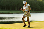STILLWATER, OK - MAY 21: Jennifer Kupcho of Wake Forest celebrates sinking her final putt and winning the Division I Women's Golf Individual Championship held at the Karsten Creek Golf Club on May 21, 2018 in Stillwater, Oklahoma. (Photo by Shane Bevel/NCAA Photos via Getty Images)