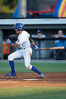 Nicky Lopez (4) of the Burlington Royals follows through on his swing against the Princeton Rays at Burlington Athletic Stadium on June 24, 2016 in Burlington, North Carolina.  The Rays defeated the Royals 16-2.  (Brian Westerholt/Four Seam Images)