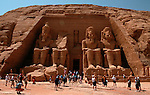 Fascade of Temple, Abu Simbel, Egypt, Colossal figures of Ramses II wearing double crown, New Kingdom