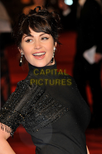 GEMMA ARTERTON .The Orange British Academy Film Awards 2009, Royal Opera House, Covent Garden, London, England, February 8th 2009..BAFTAS arrivals portrait headshot beaded black polo neck earrings hair up .CAP/PL.©Phil Loftus/Capital Pictures
