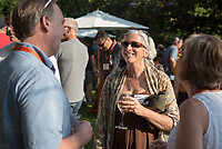 Wendy Sternberg, Vice President for Academic Affairs and Dean of the College. Parents meet with Jonathan Veitch and Oxy staff at the President's Reception, Mitchell Garden. Incoming first-years and their families are welcomed by O-Team members and the community at the start of Occidental College's Fall Orientation for the class of 2021, Aug. 24, 2017.<br /> (Photo by Marc Campos, Occidental College Photographer)