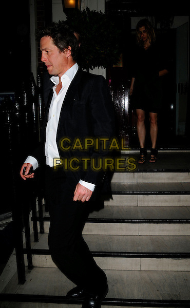 HUGH GRANT.Attending the Richard Prince Serpentine Gallery Council Dinner, Morton's restaurant, London, England, .June 23rd 2008..full length black suit white shirt leaving steps.CAP/CAN.©Can Nguyen/Capital Pictures