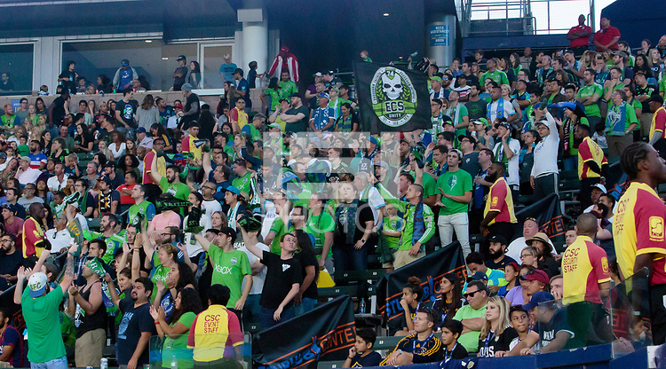 Carson, CA - Saturday July 29, 2017: Seattle Sounders FC supporters during a Major League Soccer (MLS) game between the Los Angeles Galaxy and the Seattle Sounders FC at StubHub Center.