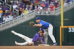 OMAHA, NE - JUNE 26: Kramer Robertson (3) of Louisiana State University is tagged out at second base by Deacon Liput (8) the University of Florida during the Division I Men's Baseball Championship held at TD Ameritrade Park on June 26, 2017 in Omaha, Nebraska. The University of Florida defeated Louisiana State University 4-3 in game one of the best of three series. (Photo by Jamie Schwaberow/NCAA Photos via Getty Images)