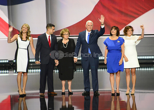 Governor Mike Pence (Republican of Indiana), the GOP nominee for Vice President of the United States and his family on the podium following his acceptance speech at the 2016 Republican National Convention held at the Quicken Loans Arena in Cleveland, Ohio on Wednesday, July 20, 2016.<br /> Credit: Ron Sachs / CNP/MediaPunch<br /> (RESTRICTION: NO New York or New Jersey Newspapers or newspapers within a 75 mile radius of New York City)