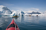 Alaska, Prince William Sound, Sea kayakers, Columbia Bay, Columbia Glacier, Icebergs, Brash Ice, Chugach Mountains, USA, David Fox, Elliot Marks, Galen Tritt, released,..