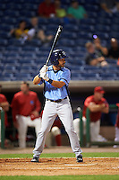 Charlotte Stone Crabs designated hitter Pat Blair (5) at bat during a game against the Clearwater Threshers on April 12, 2016 at Bright House Field in Clearwater, Florida.  Charlotte defeated Clearwater 2-1.  (Mike Janes/Four Seam Images)