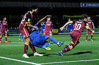 Andy Barcham of AFC Wimbledon is brought down  by Nathaniel Knight-Percival of Bradford City the free kick is given outside the box during AFC Wimbledon vs Bradford City, Sky Bet EFL League 1 Football at the Cherry Red Records Stadium on 2nd October 2018
