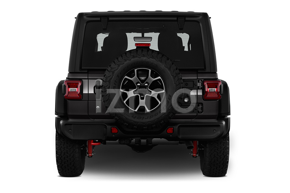Straight rear view of 2019 JEEP Wrangler Rubicon 5 Door SUV Rear View  stock images