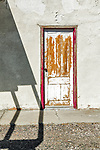 Weathered door, abandoned Hazel Grocery, town of Hazen in the Lahoten Valley along the old Lincoln Highway, Nevada