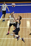 27 APR 2014: Matt Elias of Juniata College sets against Springfield College during the Division III Men's Volleyball Championship held at the Kennedy Sports Center in Huntingdon, PA. Springfield defeated Juniata 3-0 to win the national title.  Mark Selders/NCAA Photos
