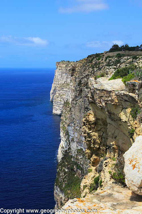 Coastal clifftop landscape  view westwards at Ta' Cenc cliffs, island of Gozo, Malta