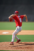 Philadelphia Phillies pitcher Tyler McKay (16) delivers a pitch during a Florida Instructional League game against the New York Yankees on October 11, 2018 at Yankee Complex in Tampa, Florida.  (Mike Janes/Four Seam Images)