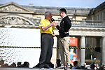 Raymond Poulidor on stage at the team presentation before the 2018 Paris-Roubaix. 7th April 2018.<br /> Picture: ASO/Pauline Ballet | Cyclefile<br /> <br /> <br /> All photos usage must carry mandatory copyright credit (&copy; Cyclefile | ASO/Pauline Ballet)