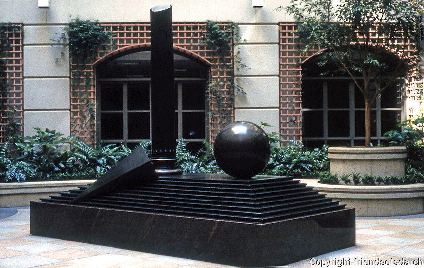 """San Francisco:  Monadnock Bldg. Sculpture Garden. """"Teatro X"""", 1984 by Herk Van Tongeren."""