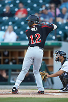 Zander Wiel (12) of the Rochester Red Wings at bat against the Charlotte Knights at BB&T BallPark on May 14, 2019 in Charlotte, North Carolina. The Knights defeated the Red Wings 13-7. (Brian Westerholt/Four Seam Images)